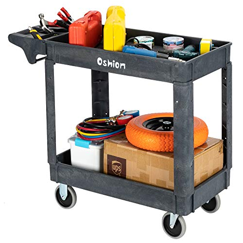 HomVent Heavy Duty Commercial Utility Cart, 2 Shelf Rolling Plastic Utility Cart Tub Cart Work Cart with Wheels Supports Up to 500 Lbs, Great for Warehouse, Garage, Cleaning 40.71 x 17.13 x 33.46inch