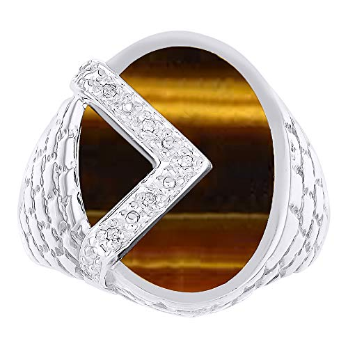 RYLOS Designer Ring With Diamonds and Genuine Tiger Eye Set in 14K White Gold