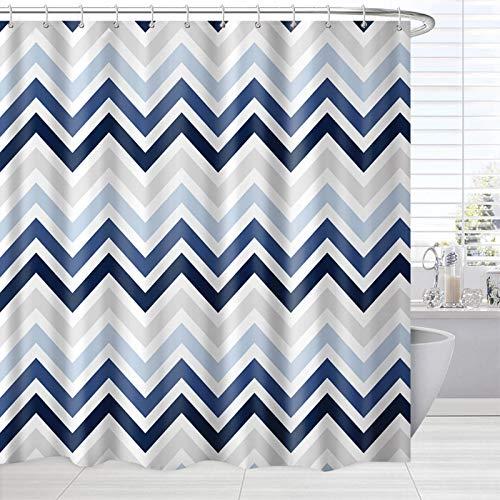 Blue Pattern Shower Curtain, Modern Abstract Ombre Chevron Zag Zig Striped Bath Curtain,