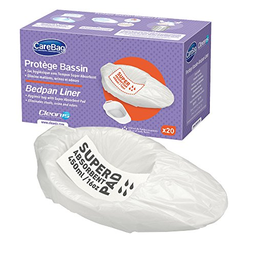 The Original Carebag Commode & Bedpan Liners with Super Absorbent Pad, 60 Count (3 boxes of 20) – Medical Grade, Fits any Size Bedpan – Universal Liner Designed for Bedside Commode Buckets and Bedpans