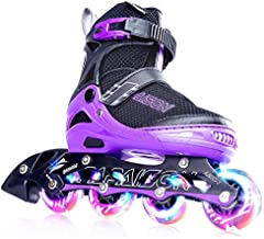 PAPAISON Adjustable Inline Skates for Kids and Adults with Full Light Up Wheels , Outdoor Roller Skates for Girls and Boys, Men and Women