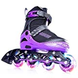 PAPAISON Adjustable Inline Skates for Kids and Adults with Full Light Up Wheels, Outdoor Roller Skates for Girls and Boys, Men and Women