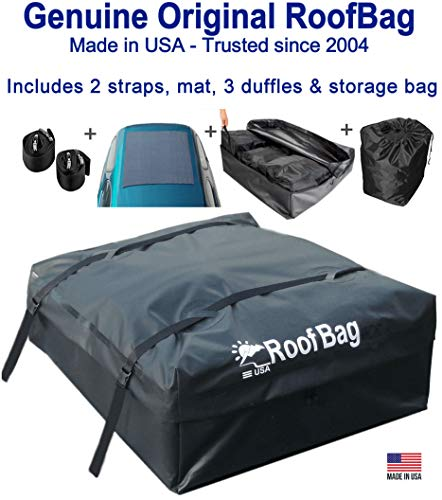 RoofBag Rooftop Cargo Carrier Made in USA, 11 Cubic Feet. Waterproof Car Top Carriers for Cars with Racks or Without Racks Include 3 Liner Bags, Roof Protective Mat, Storage Bag and Straps