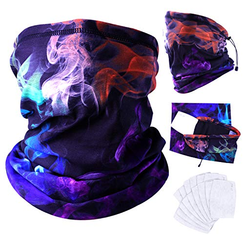 FASTSPOK 3Pcs Neck Gaiter with Multi-Pack 15Pcs Carbon Filters for Outdoors (X6)