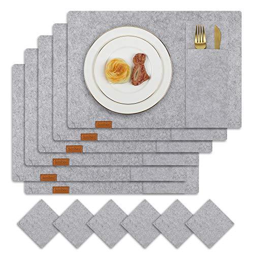 Famibay Filz Platzsets und Untersetzer 6er Set Bestecktaschen Grau Filztischsets Tischuntersetzer Abwaschbar Platzdeckchen