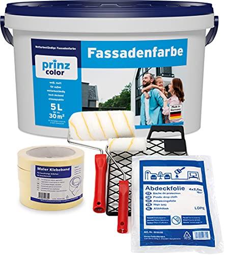 prinzcolor Fassadenfarbe Aussenfarbe Fassadenwetterschutz Anstreichset Weiß 5l - Anstreichset