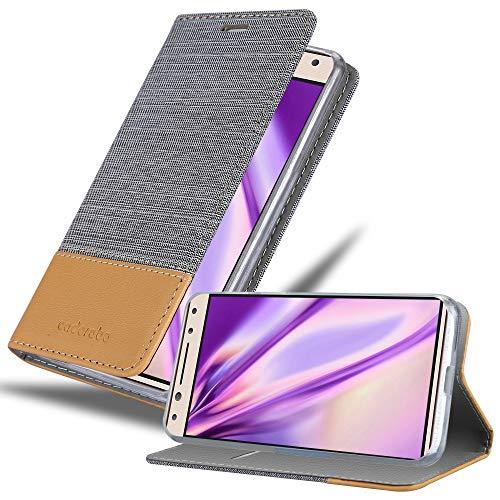 Cadorabo Hülle für Alcatel 5 in HELL GRAU BRAUN – Handyhülle mit Magnetverschluss, Standfunktion & Kartenfach – Hülle Cover Schutzhülle Etui Tasche Book Klapp Style