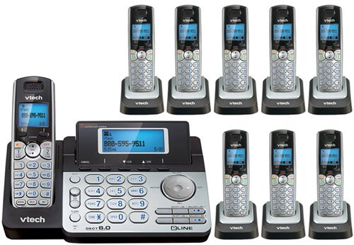 Vtech DS6151 Base with 8 Additional DS6101 Cordless Handsets Bundle