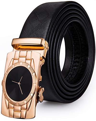 DiBanGu Cinturón de trinquete para hombre, de piel auténtica, cinturón de vestir con hebilla automática Oro Negro Dk-2093 130 cm/44' Cintura