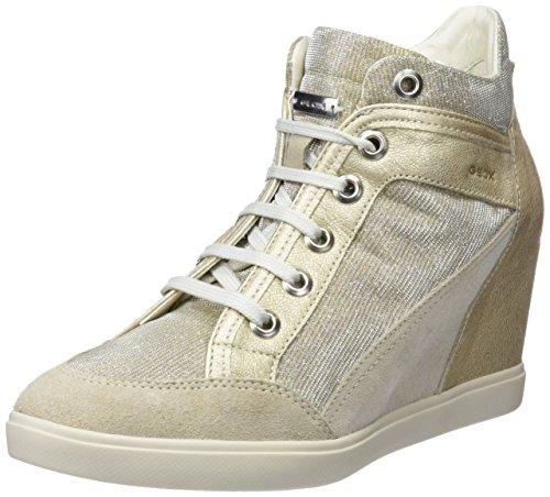 Geox Damen D Eleni C Hohe Sneaker, Beige (Lt Taupe/Lead), 41 EU