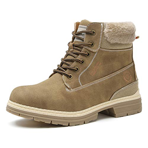 COTTIMO Snow Hiking Winter Boots for Women - Casual Brown Combat Work Boot - Non-Slip Fur-Lined Ankle Boots - Fashion Backpacking Boots