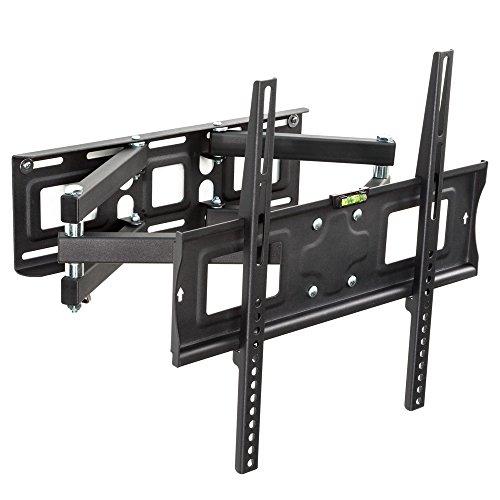TecTake 401288 TV Wandhalterung für Flachbildschirme, neigbar schwenkbar max VESA 400x400 bis 70kg, passend für 66cm (26 Zoll) - 140cm (55 Zoll), schwarz