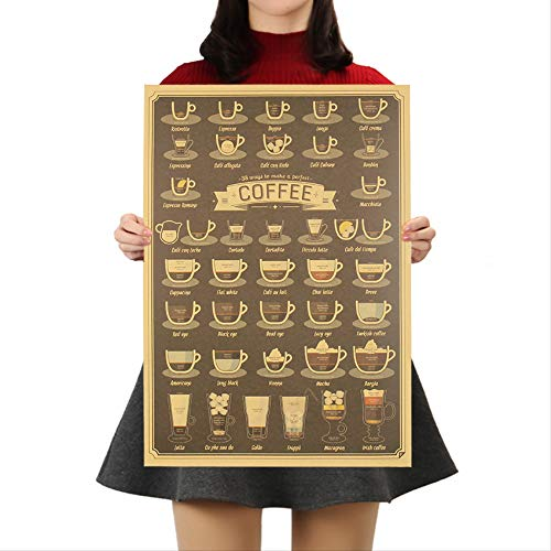 Koffie Beker Daquan Bars Keuken Tekening Poster Adornment Vintage Poster Retro Muursticker 51.5x36cm