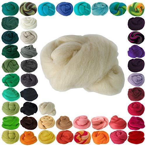 25g Filzwolle Märchenwolle Nassfilzen Trockenfilzen, verschiedene Farben, Farbe:naturweiß