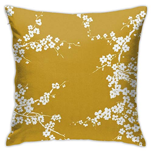 Antvinoler Mustard Yellow Plum Flower Pillows Case Soft Throw Pillow Double-Sided Digital Printing Couch Pillowcase Square 45cm45cm