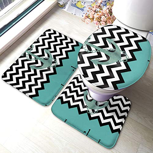 Live Love Laugh In Turquoise Colorblock Chevron with Anchor Bathroom Mat Set 3 Piece Rugs Memory Foam Mat Set WC Cover Bath Mat Lid Cover