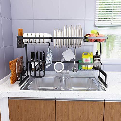 MJK Estante de almacenamiento de cocina para el hogar, estante para platos, de acero inoxidable 201, escurreplatos con 5 ganchos, 86 × 32 × 52 cm
