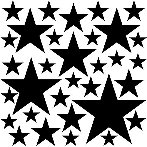 PREMYO 32 Sterne Wandsticker Kinderzimmer Mädchen Jungen - Wandtattoo - Wandaufkleber Selbstklebend Schwarz