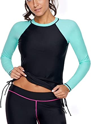 Lovinni Womens Long Sleeve Zip Down Rashguard UPF 50 Swimwear Rash Guard Athletic Tops