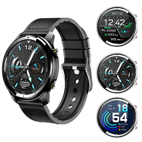 Rundoing Full Touch Screen Smart Watch for Android/iOS Phones, Fitness Tracker with Heart Rate/Sleep Monitor,Step/Calorie Counter,Smart Watches with 1.3 inch Screen,Waterproof Smartwatch for Men