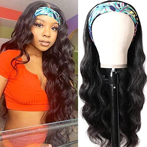 Headband Wig Body Wave Human Hair Wigs For Black Women Brazilian Virgin Hair Glueless None Lace Front Wigs With Headband Machine Made Body Wave Headband Wig BeginnerFriendly 150% Density 18 Inch