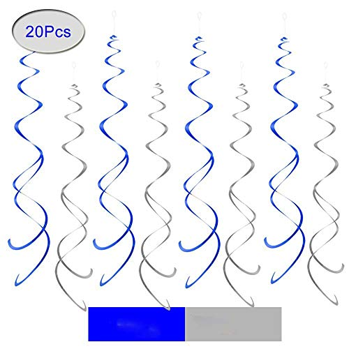 Aimto Blue and Silver Party Swirl Decorations,Foil Ceiling Hanging Swirl Decorations, Party Decorations Pack of 20