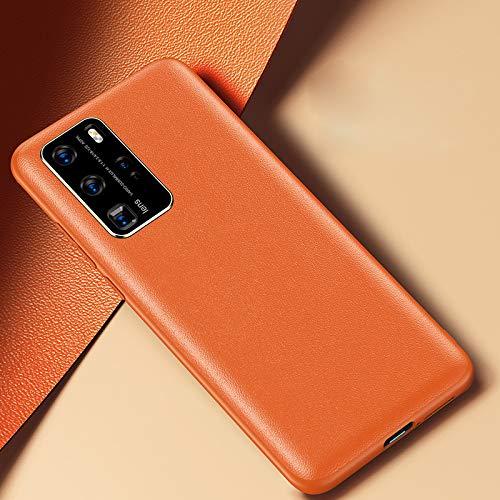 SevenPanda für Huawei P40 Lens Protective Hülle, Original Leder Tasche All-Inclusive Linse Ultradünne Kreative Sturzsichere Schutzhülle für Huawei P40 - Orange