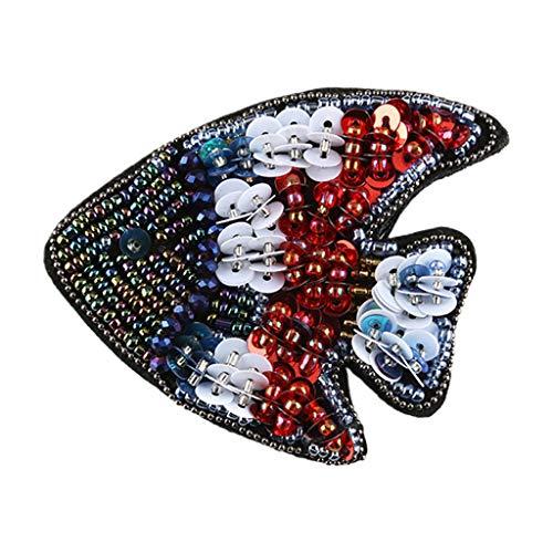N/A. Parches de bordado de imitación de animales, hechos a mano, con cuentas de cristal, caballito de mar, medusas marinas, emblema de costura