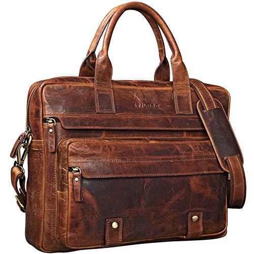 STILORD  Leander  Bolsa de Negocios o maletín para portátil de 15.6   Bolso de Piel para Trabajo de Hombres y Mujeres Bolsa Mensajero de Cuero auténtico, Color:Kara - Cognac