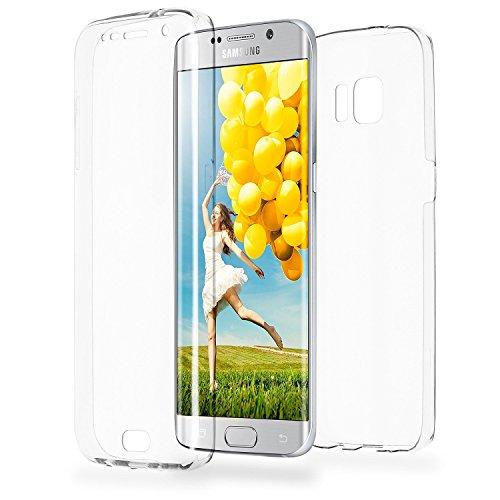 COPHONE® kompatibel Samsung Galaxy S6 Edge Hülle Silikon 360 Grad transparent. Integraler & unsichtbarer Durchsichtige Schutz Galaxy S6 Edge Handyhülle