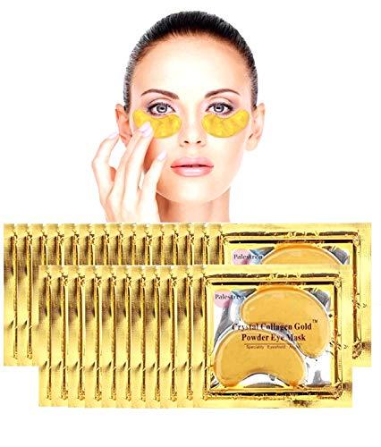 Crystal 24K Gold Powder Gel Collagen Eye Mask [[25 Pairs]] by Palestren TM Anti Aging Anti Wrinkle Moisturiser for Under Eye Wrinkles, Remove Eye Bags, Under-eye, Dark Circles, Hydrating, Puffy Eyes