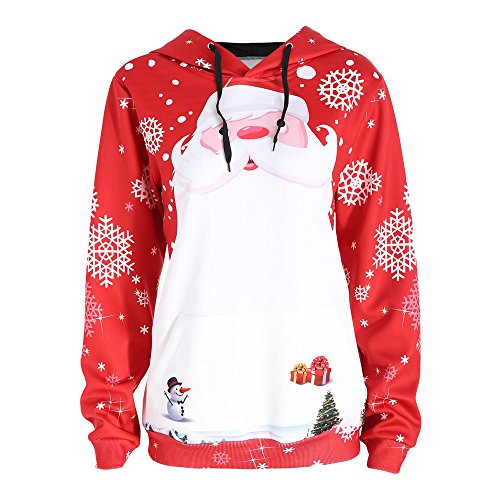 Srogem Womens Women's Christmas Patterns Snowman Snowflakes Sweatshirt Tops Pullover Sweater (M, Red)