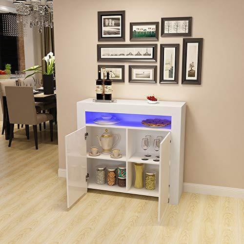 Commode de Eclairage LED Meuble de Rangement avec 4 Compartiments de Stockage + 2 Portes surSalon, Chambre, 107 x 35 x 97 cm (Blanc)