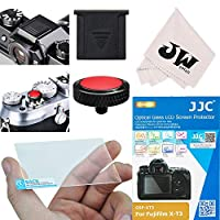 4in1 JJC アクセサリー キッド 富士フイルム Fuji Fujifilm X-T3 XT3 対応 ホットシューカバー + 液晶保護フィルム + レリーズボタン 黒 + レンズクロス