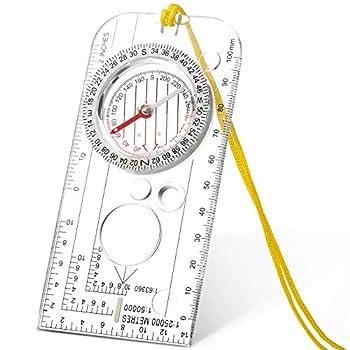 Skylety Boussole de Navigation Boussole Scout Garçon Boussole Orientation Boussole de Randonnée Légère avec Déclinaison Ajustable pour Expédition Lecture Carte Orientation Navigation (12,5 x 6,0 cm)