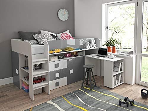 Etagenbett für Kinder TOLEDO 1 Stockbett mit Treppe und Bettkasten KRYSPOL (Weiß + Grau Glanz)