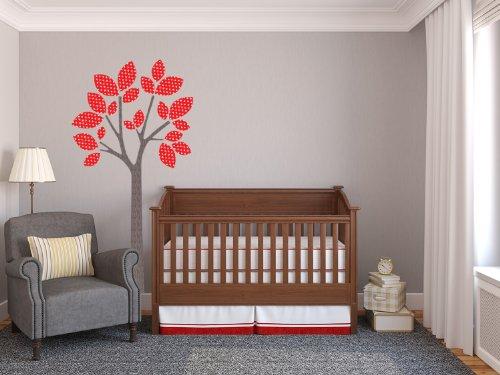 Sunny Decals Sticker Mural en Tissu d'arbre Moderne – 4 Options de Couleurs – Autocollant Mural pour Chambre d'enfant Rouge