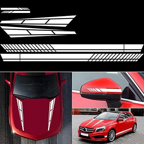 vitihipsy 6 pegatinas de rayas laterales para coche, pegatinas de vinilo para el cuerpo del coche, pegatinas de rayas para el coche, para decoración del coche