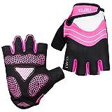 VMFTS Cycling Gloves Gel Pading Fingerless Sporting Glove for Weightlifting Racing Biking Climbing Parkour Running,Pink Medium