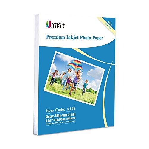 Glossy Photo Paper 8.5x11 - 100Sheets Uinkit Inkjet Paper 8.5Mil 180Gsm for Inkjet Printer