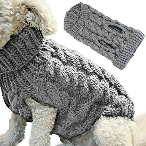 ANYIKE Huisdier Trui Warm Jumper Hond Kat Twist Gestreepte Trui Jas Winter Puppy Jas Kat Kitten Huisdier Gebreide Jumper Knitwear, S, Grijs