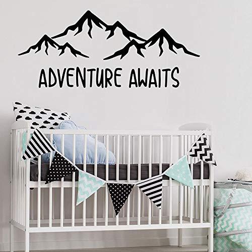 Aventura esperando pegatinas de pared calcomanías de montaña jardín de infantes decoración de pared habitación de bebé art deco pegatinas murales