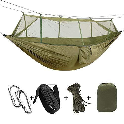 Hamaca para camping, senderismo, tienda de campaña aérea con bolsa de almacenamiento con cinturón exclusivo con mosquetón para acampar, hamaca, verde militar
