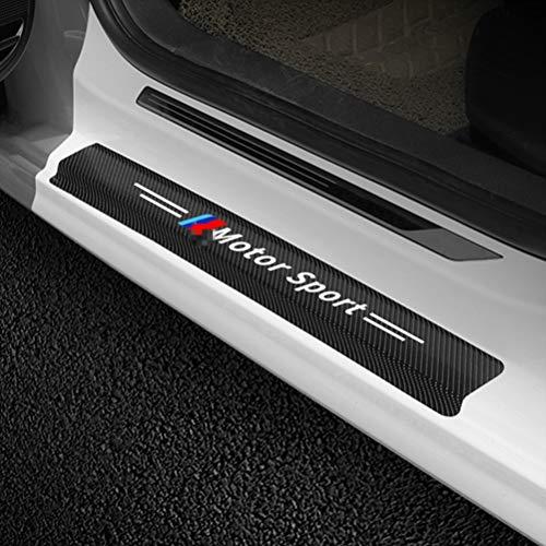 4Pcs Auto Schwellen Aufkleber Kohlefaser Einstiegsleisten, für BMW E90 E60 E92 E91 E34 F30 E10 F20 G30 X6 X5 X1 X3 Türschweller Stoßstangen Trittbrett Kratzer Lackschutzfolie, Car Styling Zubehör