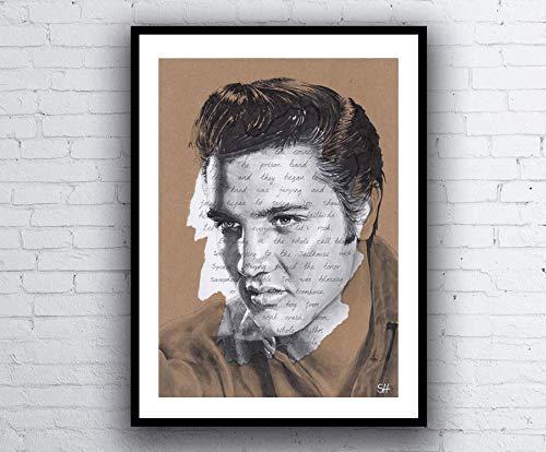 Elvis Presley ORIGINAL Portrait Drawing with Jailhouse Rock lyrics - A4 size Art