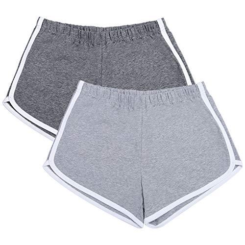 URATOT 2 Pack Cotton Sport Shorts Yoga Dance Short Pants Summer Athletic Shorts Dark Grey, Light Grey