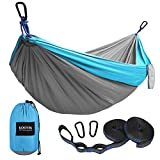 Kootek Camping Hammock Portable Indoor Outdoor Tree Hammock with 2 Hanging Straps, Lightweight Nylon Parachute Hammocks for Backpacking, Travel, Beach, Backyard, Hiking (Sky Blue/Grey, L)