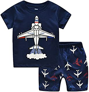 Image of Blue Airplane Pajama Shorts Set for Boys and Toddler Boys - See More