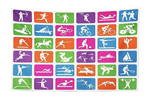 Tapicería de los Juegos Olímpicos, colección con 38 iconos deportivos Baloncesto Ciclismo Buceo Bicicleta de montaña Lucha libre, Colgar en la pared de tela Decoración para dormitorio Dormitorio Sala
