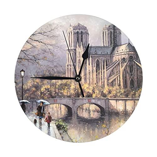 GOSMAO Round Wall Clock,Rainy Notre Dame De Paris,Hanging Clock Desk Clock Decorative Clock For Home School Office